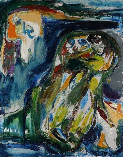 Asger Jorn, Wiedersehen am Todesufer, 1958, Öl auf Leinwand 100 x 80,5 cm, Kunsthalle Emden © VG Bild-Kunst, Bonn 2020