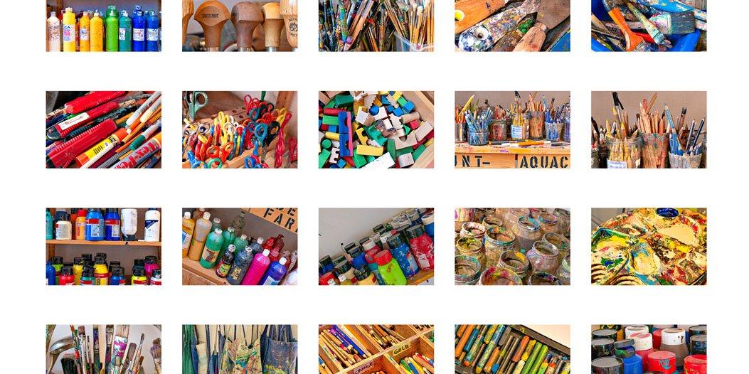 Collage mit Ateliermaterial der Malschule