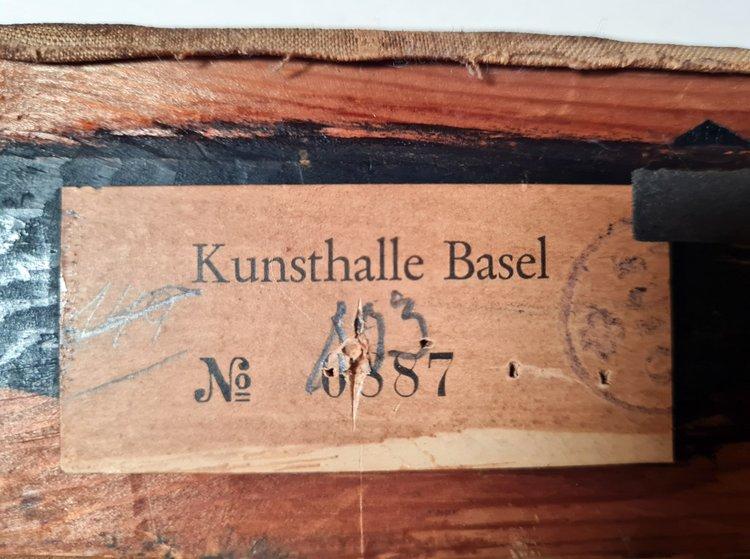 Ein Etikett der Kunsthalle Basel auf dem Rahmen des Kokoschka-Werks
