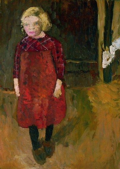 Paula Modersohn-Becker, Stehendes Mädchen vor einem Ziegenstall, 1902