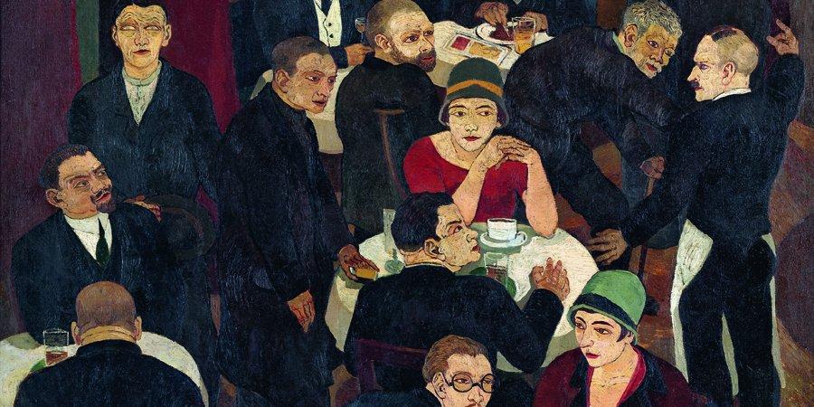 Josef Scharl, Blinder Bettler im Café, 1927, Öl (c) Susanne Fiegel