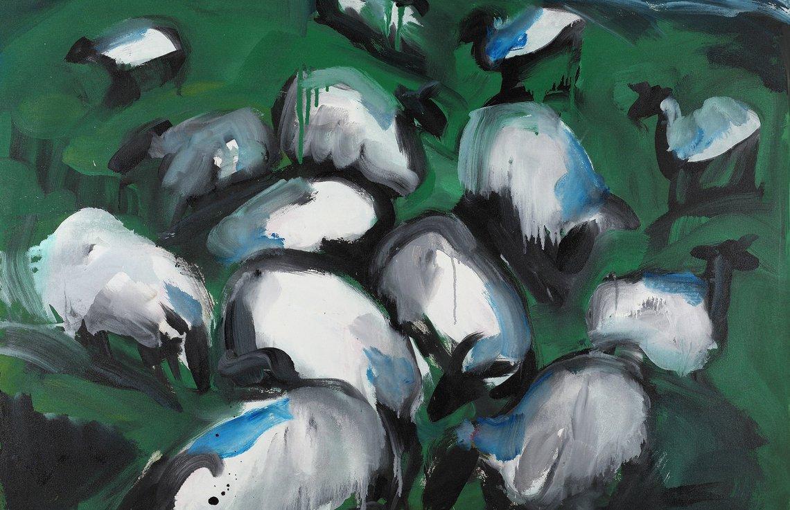 K.H. Hödicke, Flock of Sheep I (Schafherde), 1985, Kunstharz auf Nessel © VG Bild-Kunst, 2021