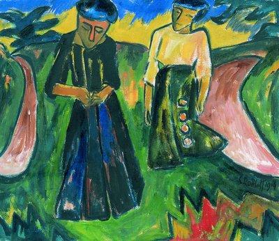 Karl Schmidt-Rottluff, Freundinnen (Schwestern), 1914 (c) VG Bild-Kunst, Bonn 2020